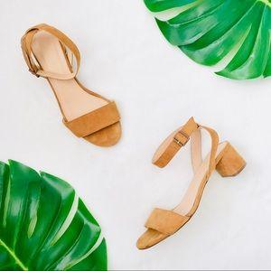 J Crew low block heel two piece tan suede sandals